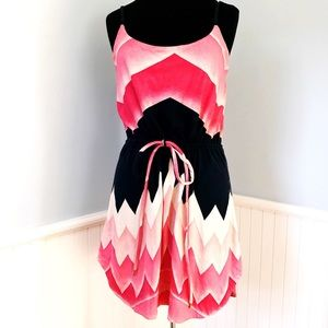 Marc Jacobs Pink & Navy Chevron Print Mini Dress
